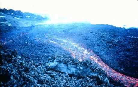 View down the middle of three channelised lava flows active on February 16, 1991